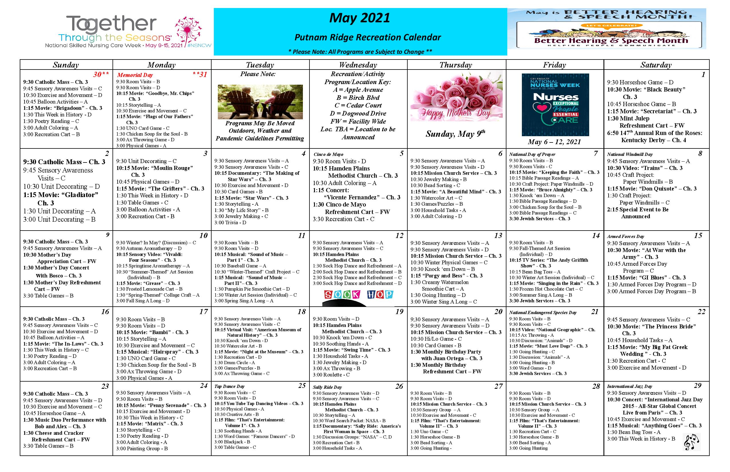 Read/Download Our May Activities Calendar Link